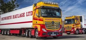 Bedworth Haulage's tractor units pull temperature-controlled trailers by Gray & Adams, a number of which incorporate special features designed to ensure that fish and shellfish